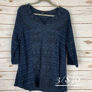Lucky Brand 1X  top 3/4 sleeve blue embroidered